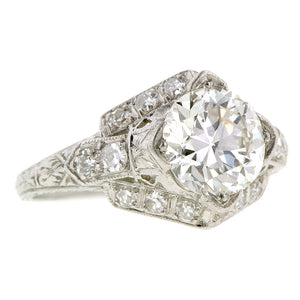 Art Deco TRB 1.60ct Diamond Platinum Engagement Ring
