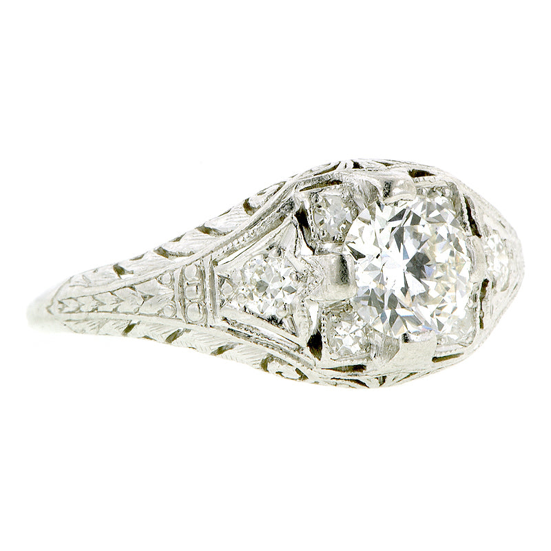 Art Deco TRB .65ct Platinum Engagement Ring