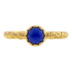 Lapis Cabochon Solitaire Ring- Heirloom by Doyle & Doyle