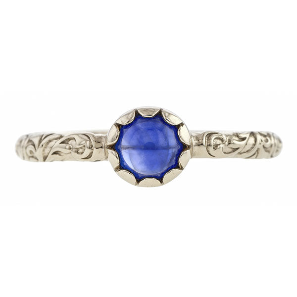 Sapphire Cabochon Solitaire Ring- Heirloom by Doyle & Doyle