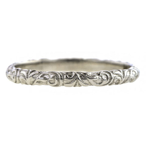 9636422379983 Scrolling Pattern Wedding Band Ring, Heirloom by Doyle & Doyle
