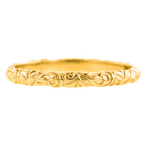 Contemporary ring: a Yellow Gold Scrolling Pattern  Wedding Band, sold by Doyle & Doyle vintage and antique jewelry boutique