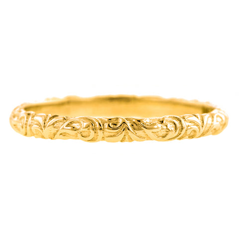 Scrolling Pattern Gold Wedding Band, sold by Doyle & Doyle vintage and antique jewelry boutique