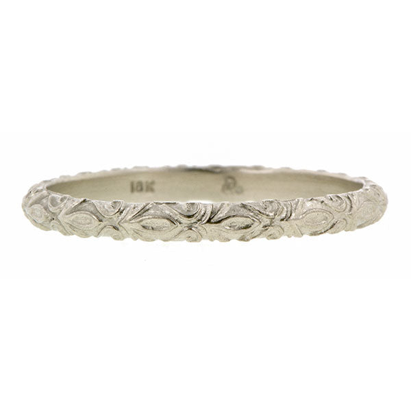 Contemporary ring: a White Gold Fleur Patterned Gold Band- Heirloom sold by Doyle & Doyle vintage and antique jewelry boutique.