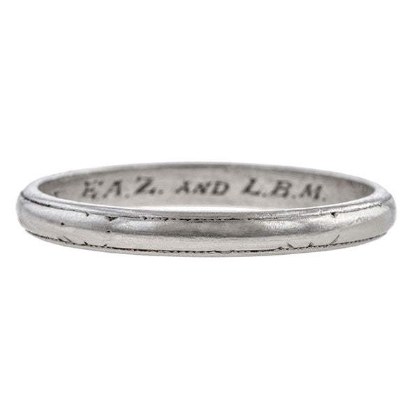 Vintage ring: a Platinum Patterned Wedding Band sold by Doyle & Doyle vintage and antique jewelry boutique.