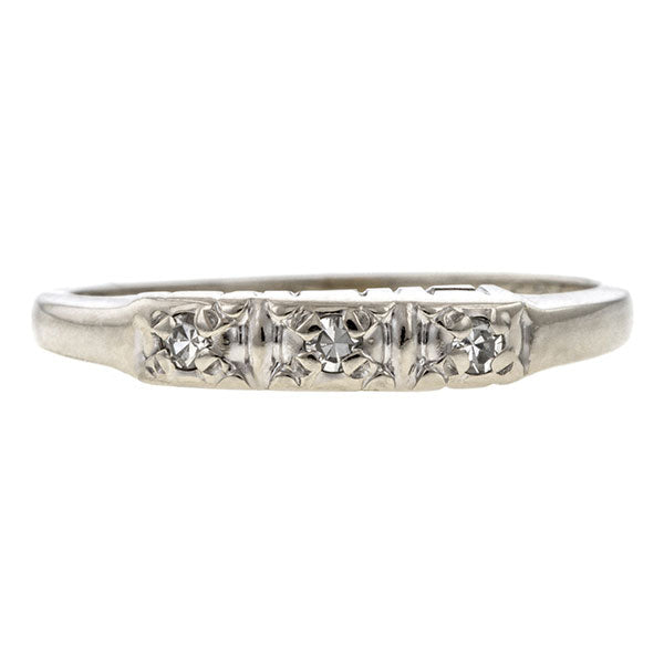 Vintage ring: a 14k White Gold Wedding Band With Single Cut Diamonds sold by Doyle & Doyle vintage and antique jewelry boutique.