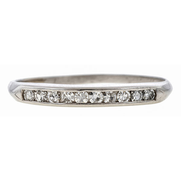 Vintage ring: a Platinum Wedding Band With Single Cut Diamonds sold by Doyle & Doyle vintage and antique jewelry boutique.