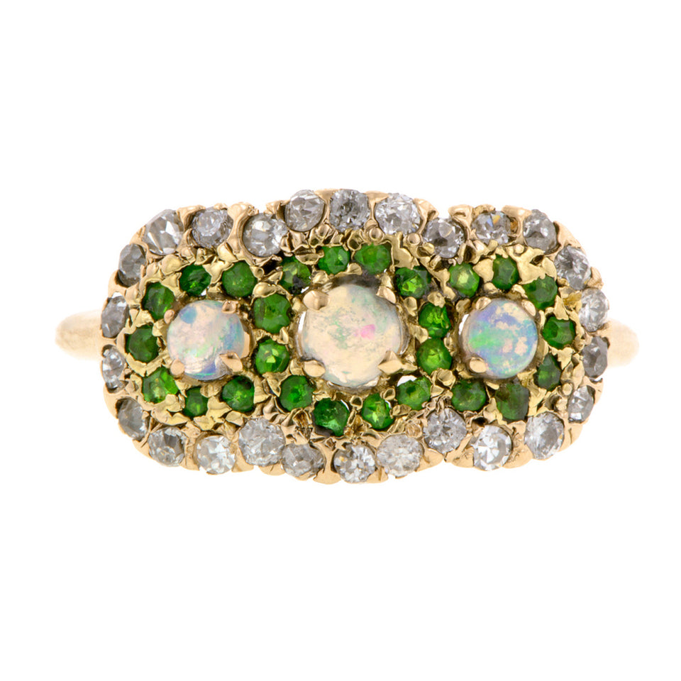 Antique Opal Demantoid & Diamond Ring