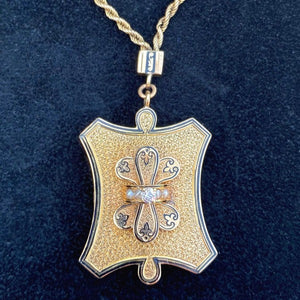 Victorian Diamond Taille d'Epergne Enamel  Locket from Doyle&Doyle