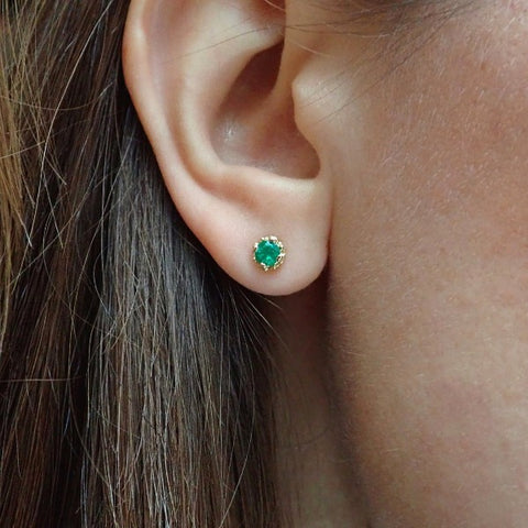 Fancy Basket Gemstone Stud Earrings