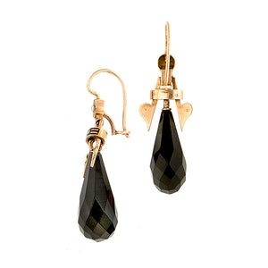 Victorian Onyx & Pearl Drop Earrings sold by Doyle & Doyle an antique & vintage jewelry boutique.
