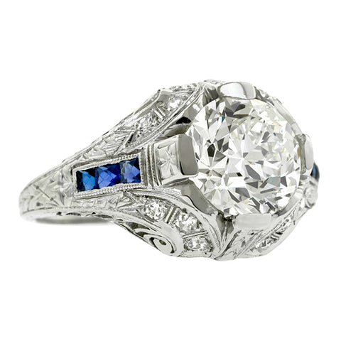 Art Deco Diamond Engagement Ring, Circular Brilliant 2.20ct