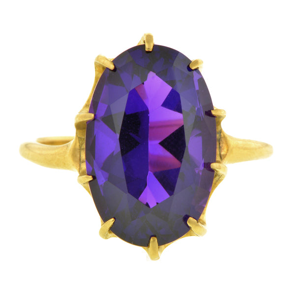 Antique Amethyst Ring::Engagement Ring, RBC 0.64ct:: featuring a round Brilliant cut