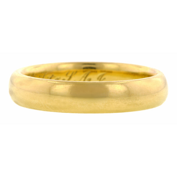 Vintage ring: a Yellow Gold Wedding Band sold by  Doyle & Doyle vintage and antique jewelry boutique.