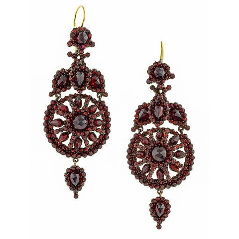 Victorian Bohemian Garnet Drop Earrings