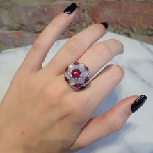 Vintage Star Ruby and Star Sapphire Diamond Ring