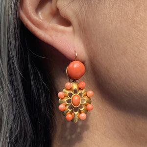 Victorian Coral Earring & Pin Set:: Doyle & Doyle