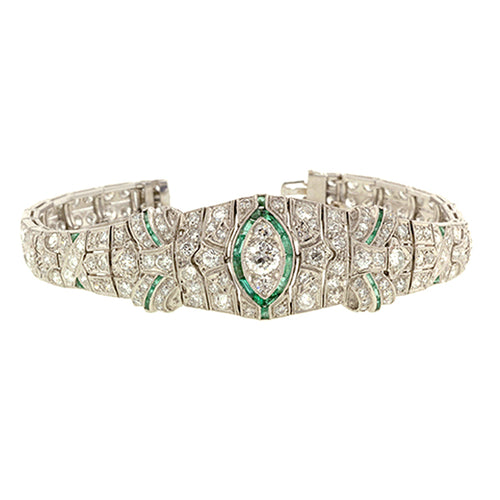 Art Deco Diamond & Emerald* Bracelet
