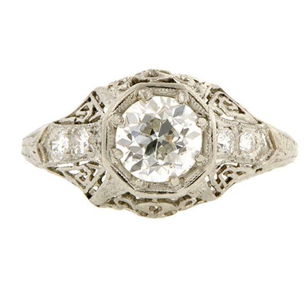 Edwardian Engagement Ring, Old Euro 1.00 ct.