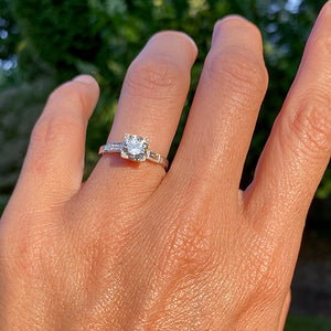 Vintage Engagement Ring, RBC 0.96ct sold by Doyle and Doyle an antique and vintage jewelry boutique