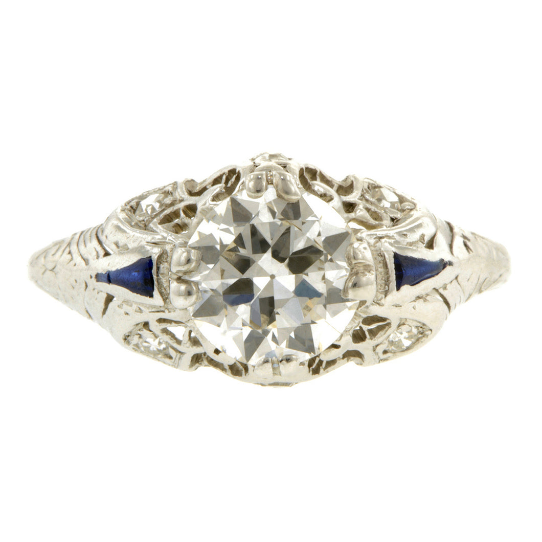 Art Deco Engagement Ring, TRB 1.19ct