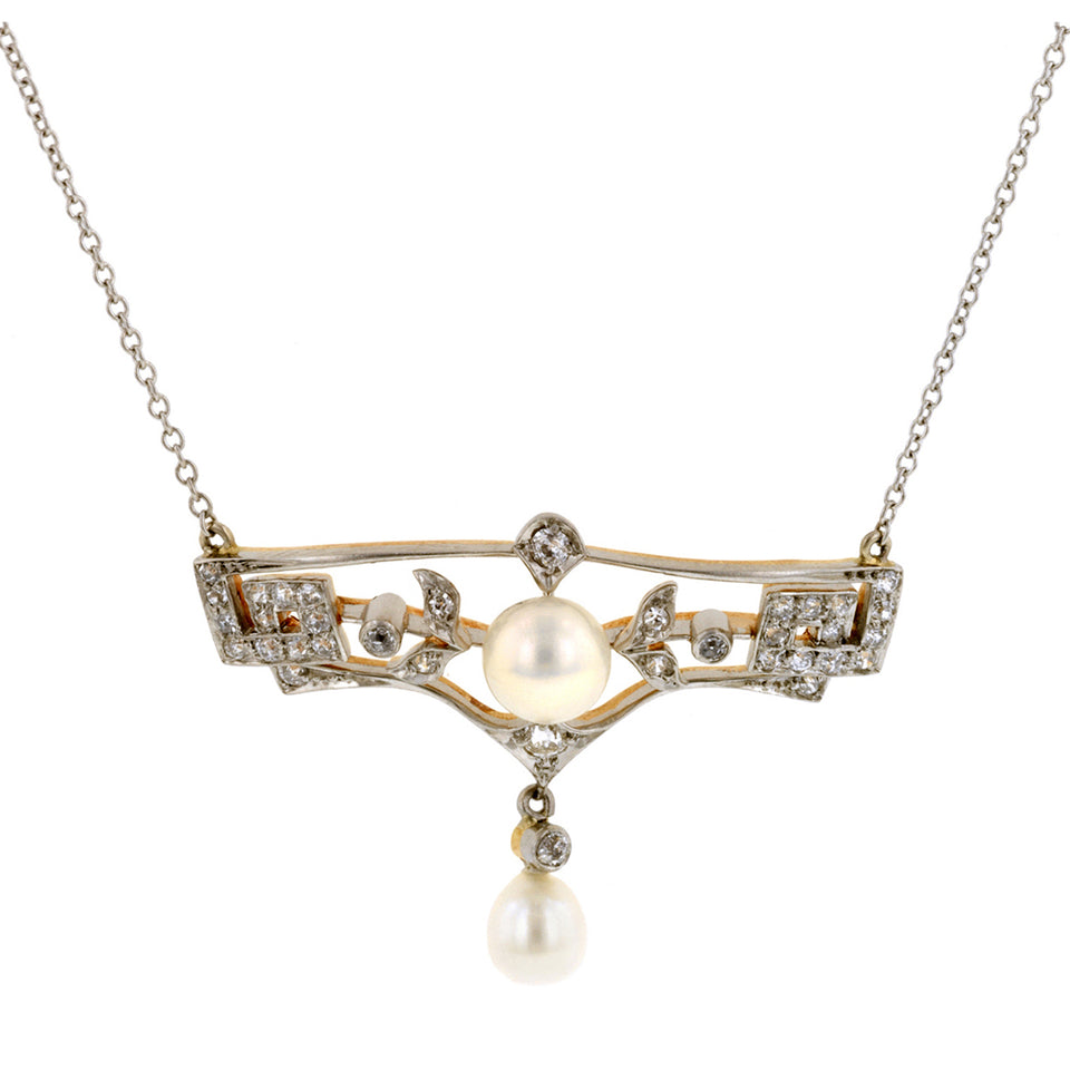 Edwardian Pearl* & Diamond Necklace