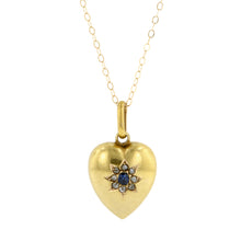 Antique Sapphire & Diamond Heart Pendant
