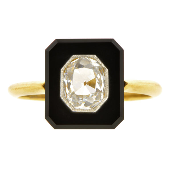 Edwardian Onyx & Diamond Ring, Old Mine 0.56ct