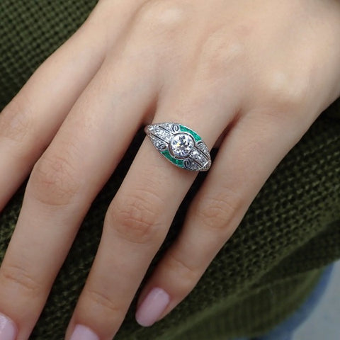 Art Deco Diamond & Emerald* Ring, Old European 0.52ct. from Doyle & Doyle