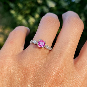 Vintage Pink Sapphire & Diamond Ring sold by Doyle and Doyle an antique and vintage jewelry boutique