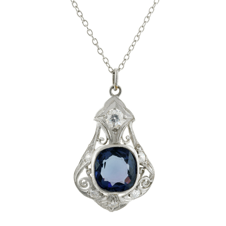Edwardian Filigree Spinel & Diamond Pendant