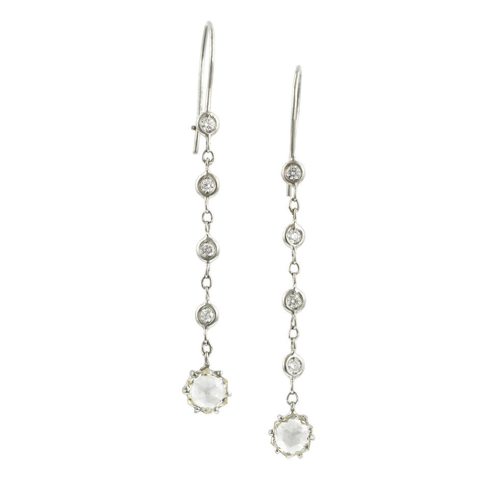 Hexagonal Rose Cut Diamond Drop Earrings