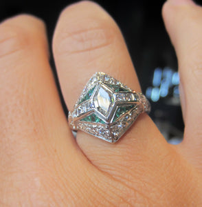 Vintage Diamond & Emerald Engagement Ring, Hex Step 0.60ct