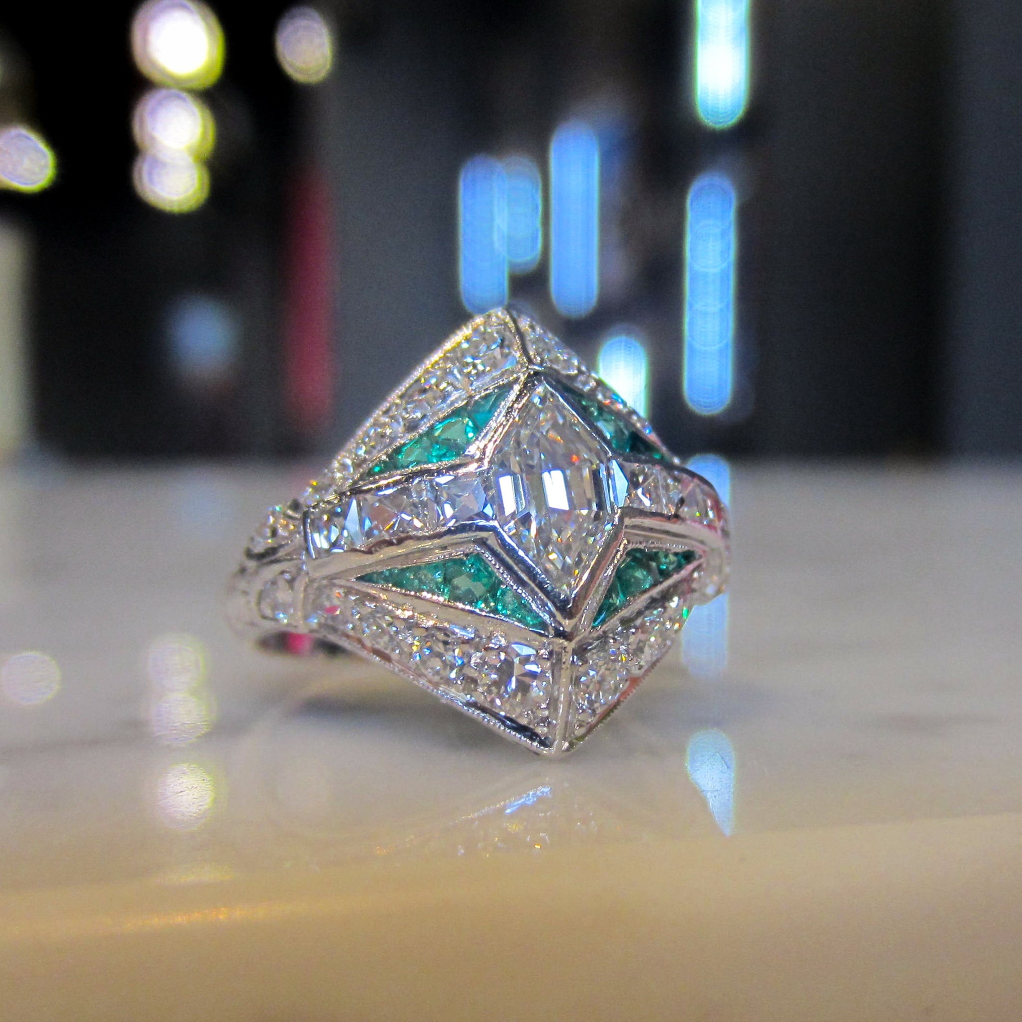 ring engagement pin split emerald diamond cut double wedding halo shank
