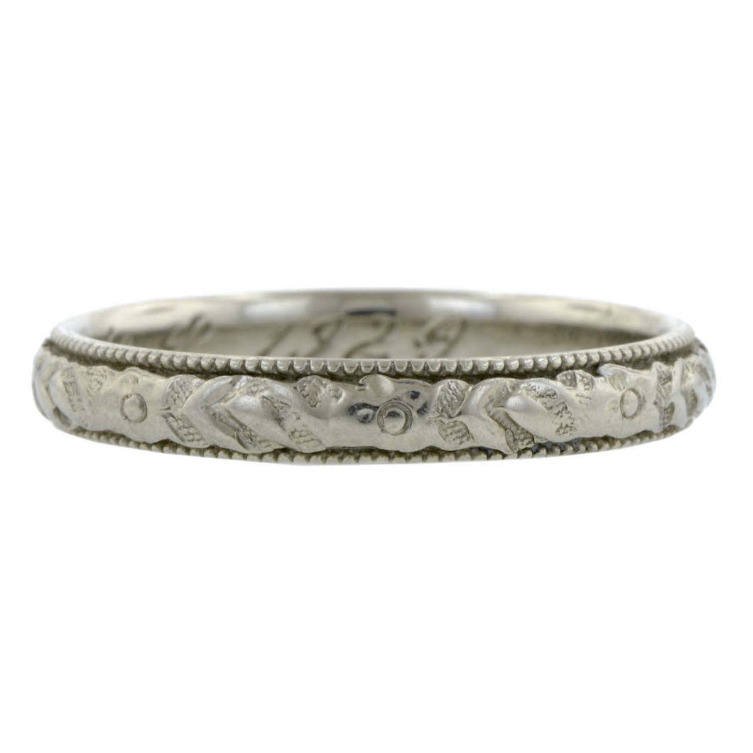 Art Deco Wedding Band with Pattern, White Gold, sold by Doyle & Doyle an antique and vintage jewelry store.