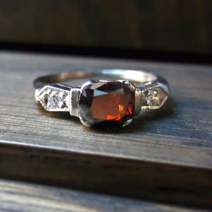 Vintage Orange Brown Diamond Engagement Ring, Cushion 0.93ct