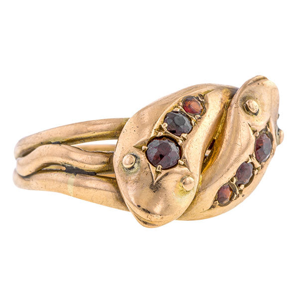 Edwardian Garnet Double Snake Ring