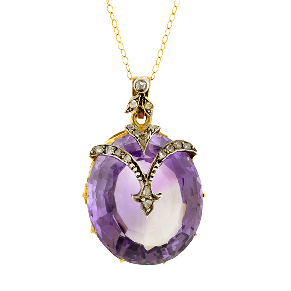 Antique Amethyst & Diamond Pendant Necklace