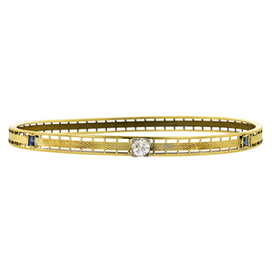 Art Deco Diamond & Sapphire Bangle Bracelet, Old Euro 0.35ct
