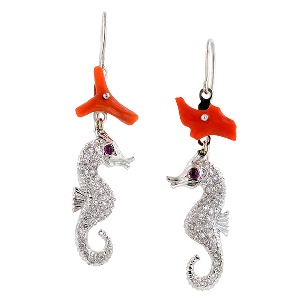 Coral, Ruby, & Diamond Pave Seahorse Earrings, RBC 0.56ct.