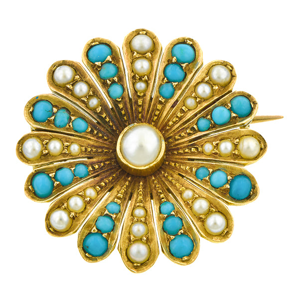 Victorian Pearl & Turquoise Flower Pin