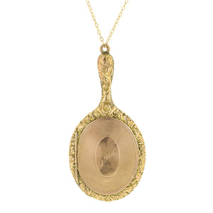 Antique Vanity Mirror Chatelaine Locket Pendant
