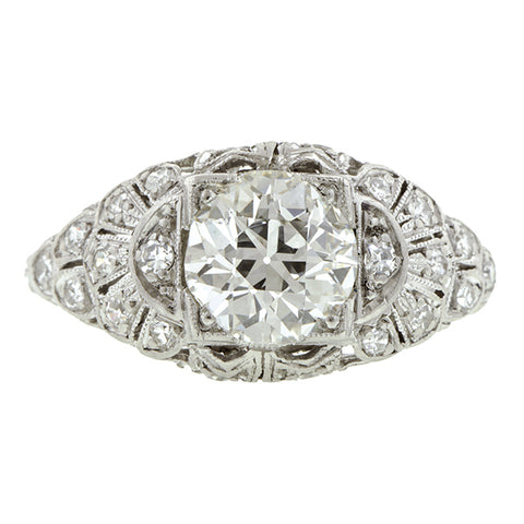 Art Deco Engagement Ring, Old European Cut, 1.24ct