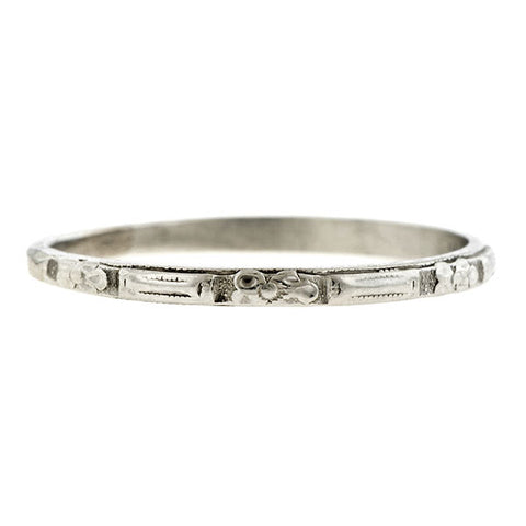 Vintage Wedding Band, a Platinum Wedding Band Ring, sold by Doyle & Doyle vintage and antique jewelry boutique.