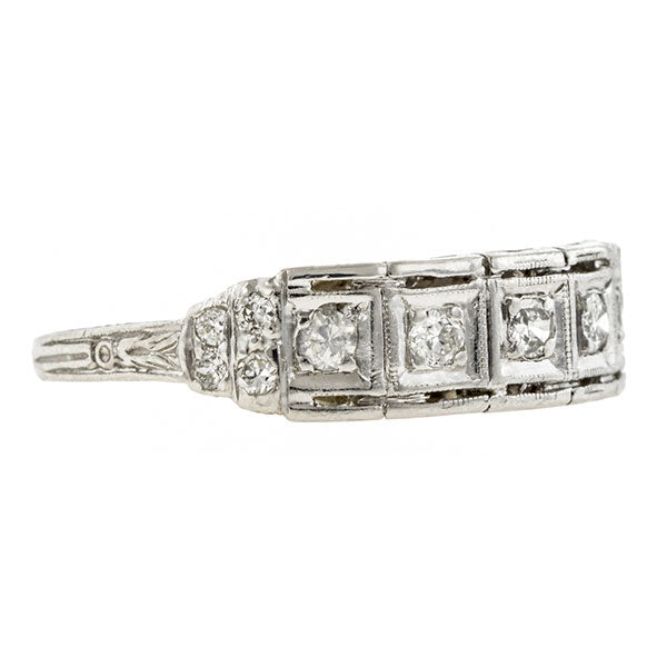 Art Deco Diamond Wedding Band Ring, sold by Doyle & Doyle an antique and vintage jewelry store.