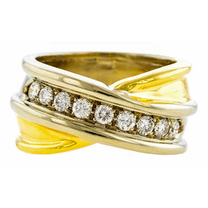 Vintage Two-tone Gold Diamond Crossover Ring