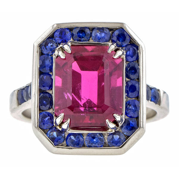 Vintage Rubellite & Sapphire Ring