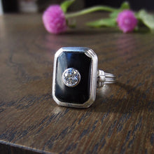 Art Deco Diamond and Onyx Ring, Old Euro 0.25ct