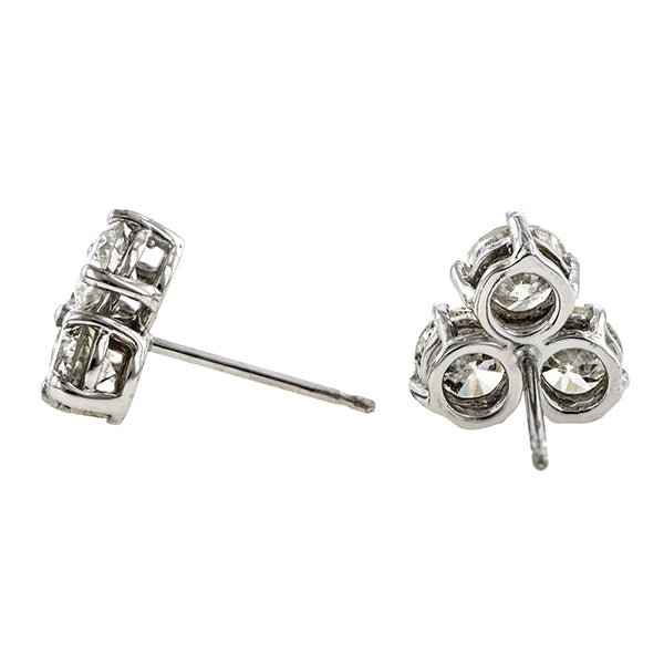 Estate Diamond Cluster Earrings