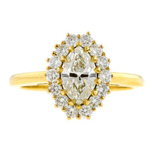 Oval Cluster Engagement Ring, Marquise 0.90ct.